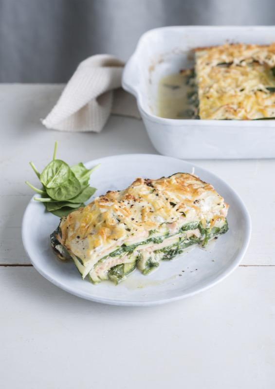 Foto van Lasagne van courgette, zalm, ricotta en spinazie