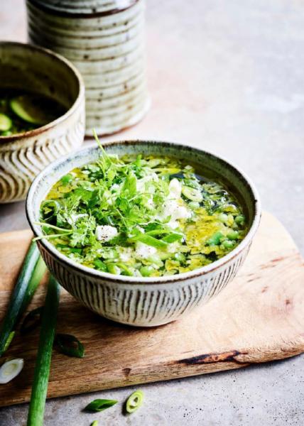 Foto van Groene minestrone met feta